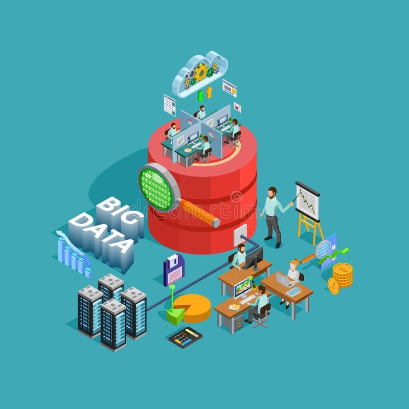 Isometric αφίσα έννοιας ανάλυσης Analytics στοιχείων διανυσματική απεικόνιση