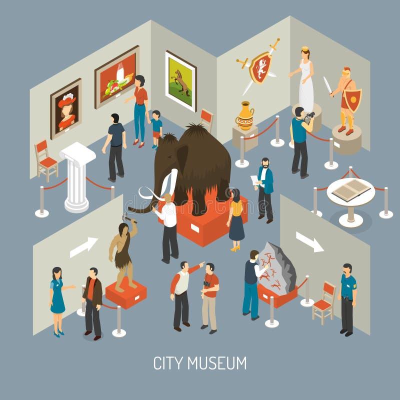 Isometric αφίσα σύνθεσης έκθεσης μουσείων ελεύθερη απεικόνιση δικαιώματος