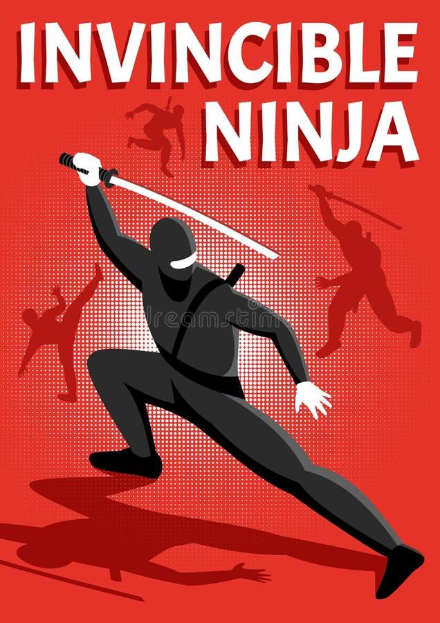 Isometric αφίσα Ninja διανυσματική απεικόνιση