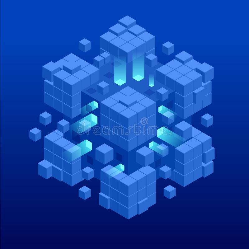 Isometric αφηρημένο μπλε σχέδιο κύβων Ψηφιακό έμβλημα Ιστού τεχνολογίας ΜΕΓΑΛΟΙ αλγόριθμοι εκμάθησης μηχανών ΣΤΟΙΧΕΙΩΝ Ανάλυση κα διανυσματική απεικόνιση