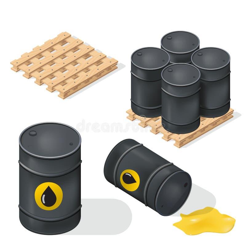 Isometric βαρέλια πετρελαίου ελεύθερη απεικόνιση δικαιώματος