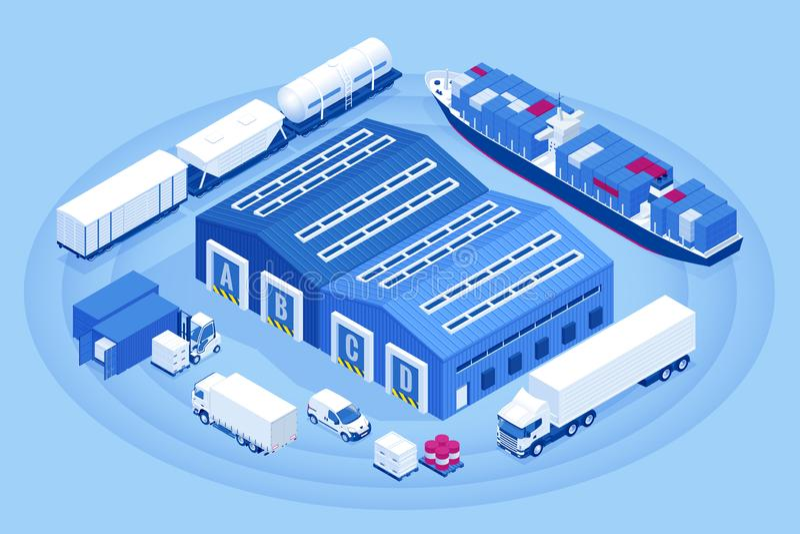 Isometric βιομηχανική αποβάθρα φόρτωσης αποθηκών εμπορευμάτων Φορτηγό με τα ημι εμπορεύματα φορτίων ρυμουλκών Επιχείρηση εισαγωγή ελεύθερη απεικόνιση δικαιώματος