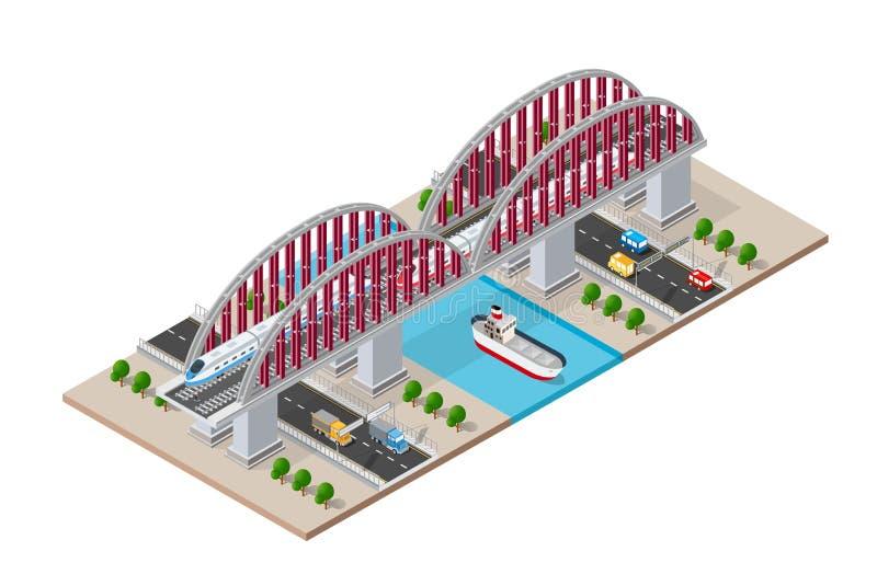 Isometric γέφυρα σιδηροδρόμου απεικόνιση αποθεμάτων