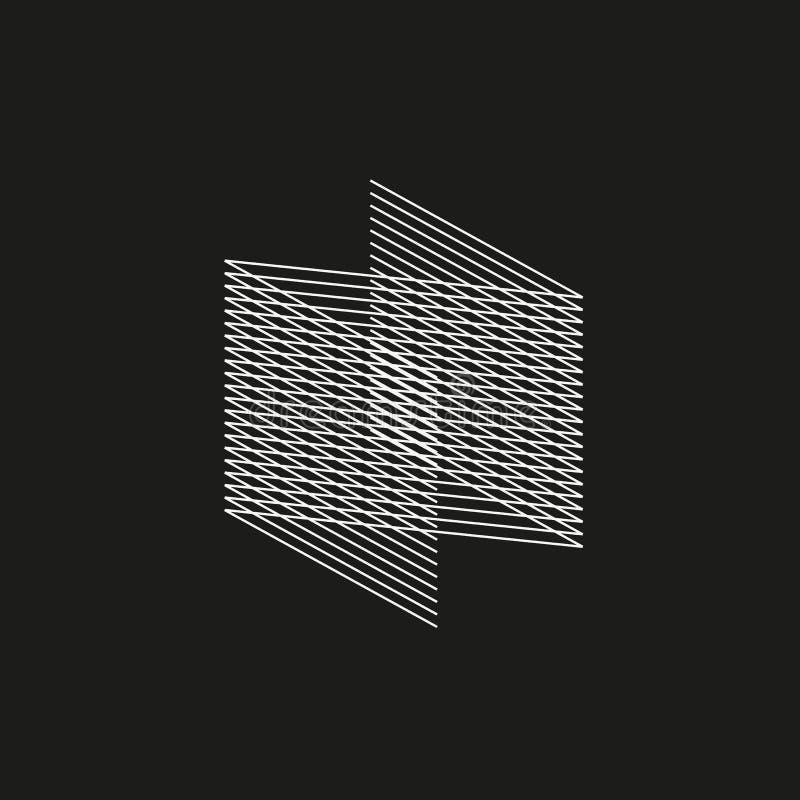 Isometric γεωμετρική πηγή Γράμμα Ν ύφους μίγματος γραμμών Σχέδιο τυπογραφίας απεικόνιση αποθεμάτων