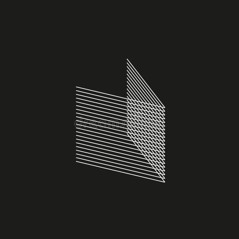 Isometric γεωμετρική πηγή Επιστολή Β ύφους μίγματος γραμμών Σχέδιο τυπογραφίας διανυσματική απεικόνιση