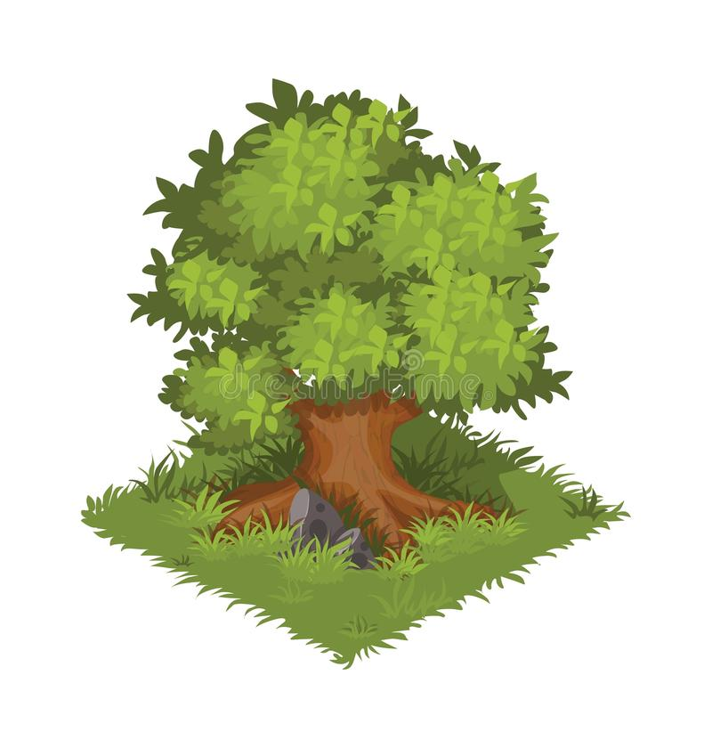 Isometric γιγαντιαίο δρύινο δέντρο κινούμενων σχεδίων, πράσινος και θαμνώδης - στοιχείο για το σχέδιο χαρτών ή τοπίων Tileset απεικόνιση αποθεμάτων
