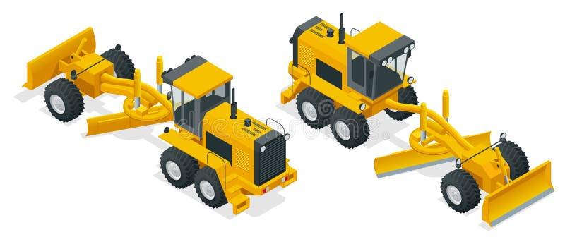 Isometric γκρέιντερ που χρησιμοποιούνται στην κατασκευή και τη συντήρηση των βρώμικων δρόμων και των δρόμων αμμοχάλικου απομονωμέ διανυσματική απεικόνιση