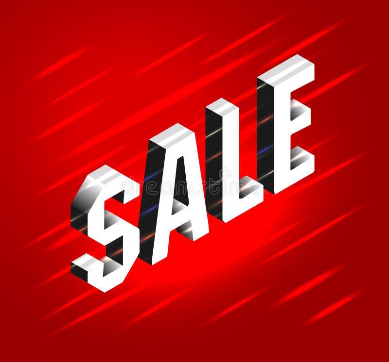 Isometric γράφοντας έμβλημα για τη μαύρη πώληση Παρασκευής Φωτεινός πίνακας διαφημίσεων κειμένων στο κόκκινο υπόβαθρο Έννοια της  απεικόνιση αποθεμάτων