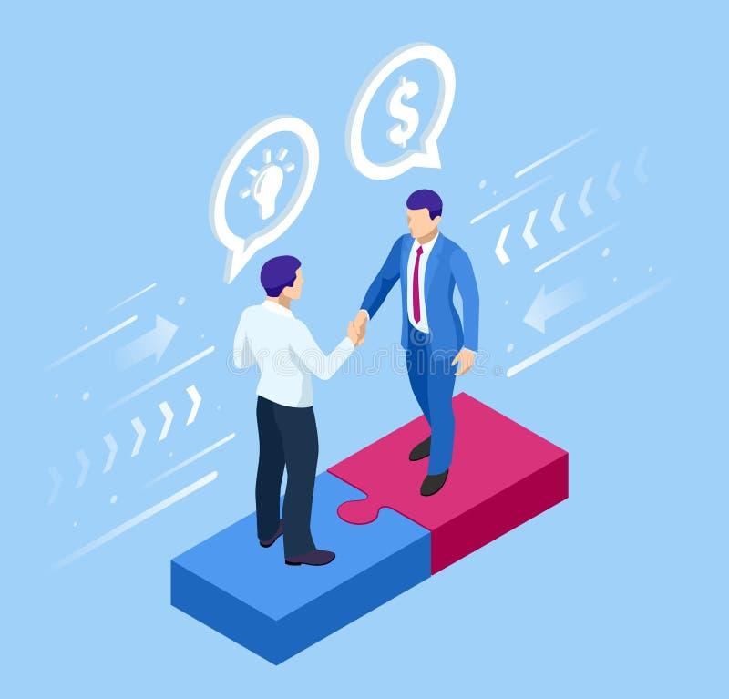 Isometric γρίφοι συγκέντρωσης με την έννοια βολβών και χρημάτων Επένδυση και εικονική χρηματοδότηση Επένδυση στην ιδέα και τον επ διανυσματική απεικόνιση
