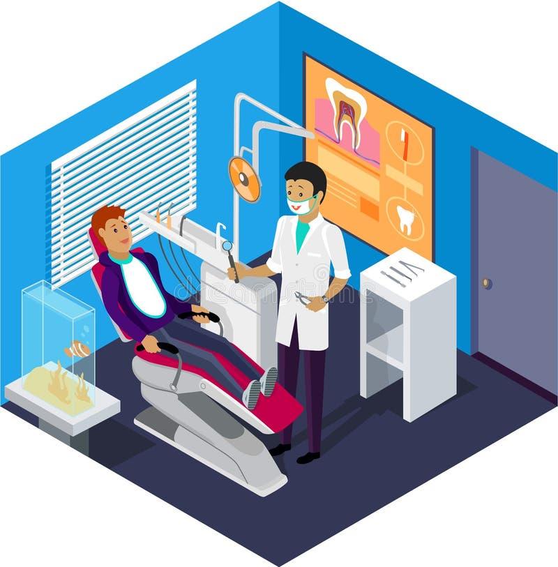 Isometric γραφείο οδοντιάτρων κατά τη διάρκεια του ασθενή υποδοχής ελεύθερη απεικόνιση δικαιώματος