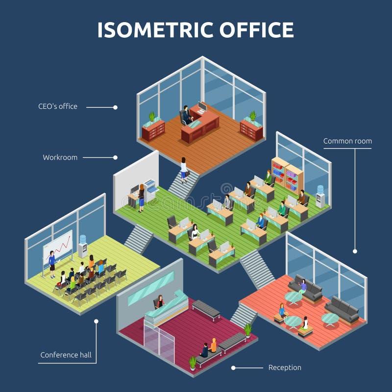Isometric γραφείο 3 σχέδιο οικοδόμησης πατωμάτων ελεύθερη απεικόνιση δικαιώματος