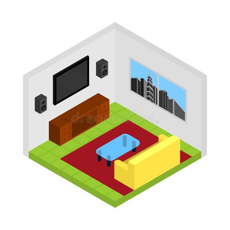 Isometric διάνυσμα δωματίων διαβίωσης/οικογενειών διανυσματική απεικόνιση