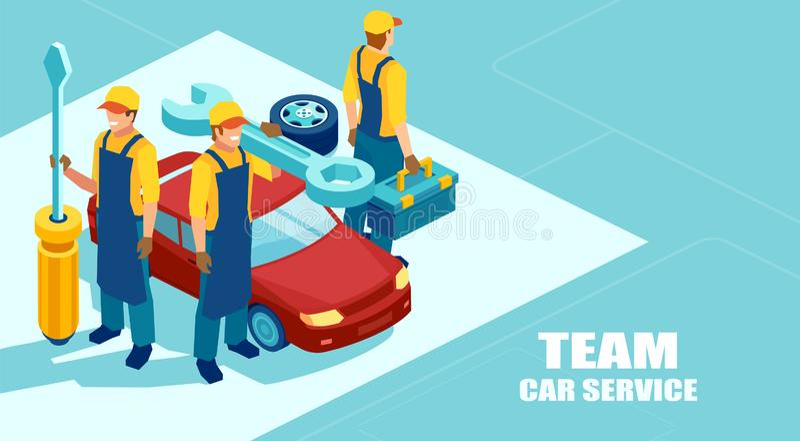 Isometric διάνυσμα μιας μηχανικής ομάδας, ομάδα τεχνικών με ένα κατσαβίδι έτοιμο να καθορίσει ένα αυτοκίνητο ελεύθερη απεικόνιση δικαιώματος