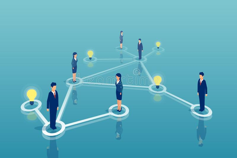 Isometric διάνυσμα μιας ομάδας της δικτύωσης επιχειρηματιών, που μοιράζεται το 'brainstorming' ιδεών ένα ξεκίνημα απεικόνιση αποθεμάτων