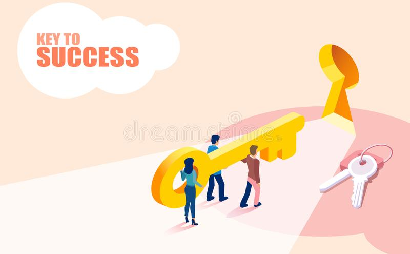 Isometric διάνυσμα του ανυψωτικού κλειδιού επιχειρησιακών ομάδων ομάδων ανθρώπων στην επιτυχία απεικόνιση αποθεμάτων