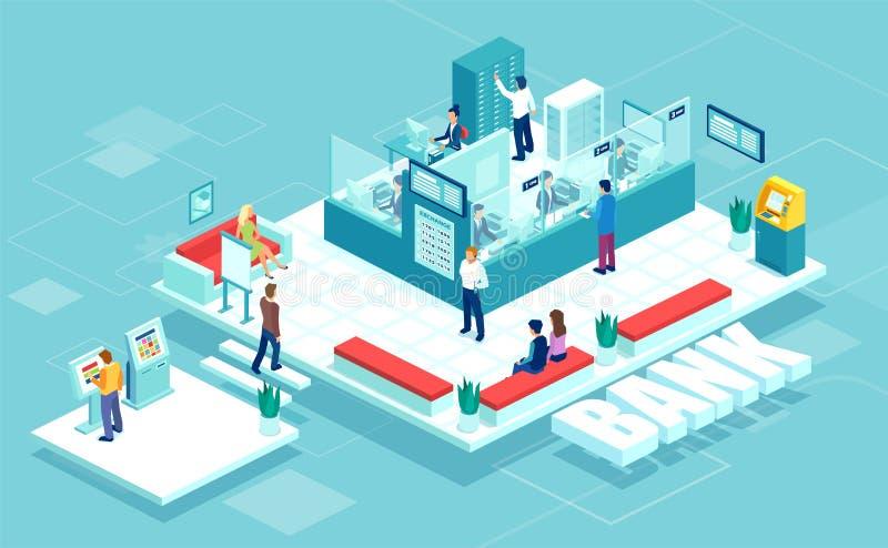 Isometric διάνυσμα του εσωτερικού υποκαταστήματος τραπεζών με τους εργαζόμενους υπαλλήλους, επιχειρηματίες πελατών ελεύθερη απεικόνιση δικαιώματος