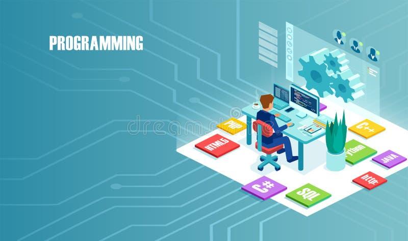 Isometric διάνυσμα του προγραμματιστή freelancer που εργάζεται στον υπολογιστή διανυσματική απεικόνιση