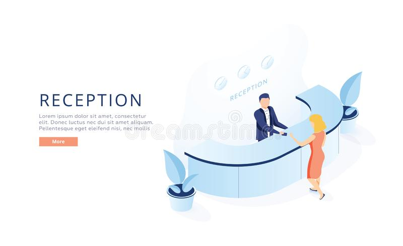 Isometric διάνυσμα υποδοχής ξενοδοχείων E ελεύθερη απεικόνιση δικαιώματος