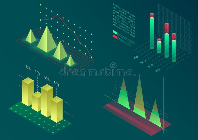 Isometric διανυσματικά στοιχεία γραφικών παραστάσεων Infographic Οικονομικές γραφικές παραστάσεις διαγραμμάτων στοιχείων και επιχ ελεύθερη απεικόνιση δικαιώματος