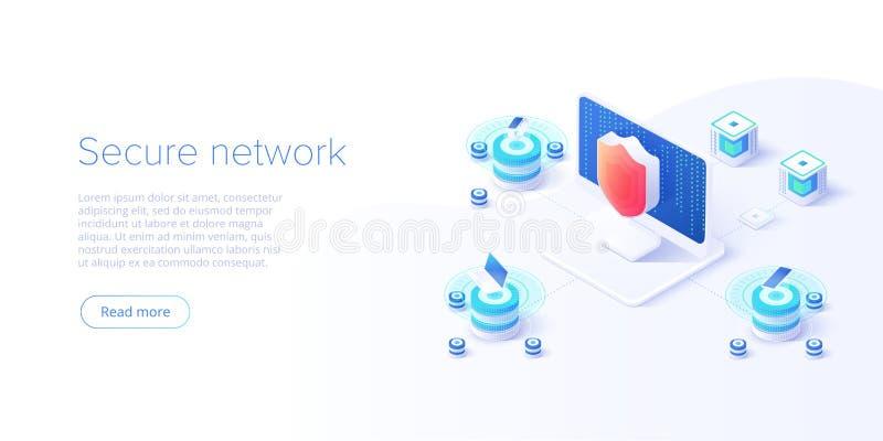 Isometric διανυσματική απεικόνιση ασφαλείας δεδομένων δικτύων Σε απευθείας σύνδεση έννοια συστημάτων προστασίας κεντρικών υπολογι ελεύθερη απεικόνιση δικαιώματος