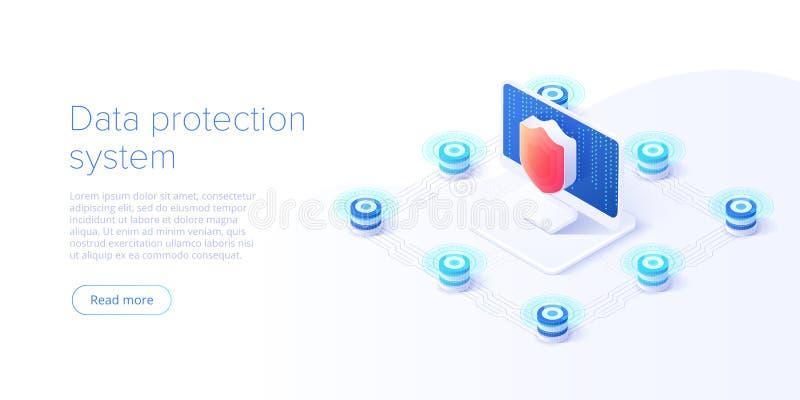Isometric διανυσματική απεικόνιση ασφαλείας δεδομένων δικτύων Σε απευθείας σύνδεση έννοια συστημάτων προστασίας κεντρικών υπολογι απεικόνιση αποθεμάτων