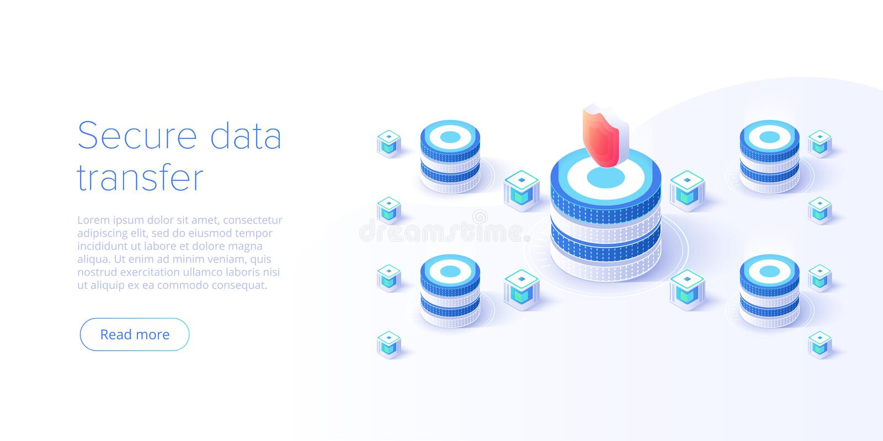 Isometric διανυσματική απεικόνιση ασφαλείας δεδομένων δικτύων Σε απευθείας σύνδεση έννοια συστημάτων προστασίας κεντρικών υπολογι διανυσματική απεικόνιση