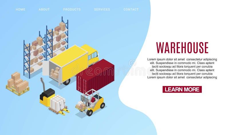 Isometric διανυσματική απεικόνιση μεταφορών αποθηκών εμπορευμάτων Αποθήκη και forklifts Ράφια με τα κιβώτια των εμπορευμάτων και απεικόνιση αποθεμάτων