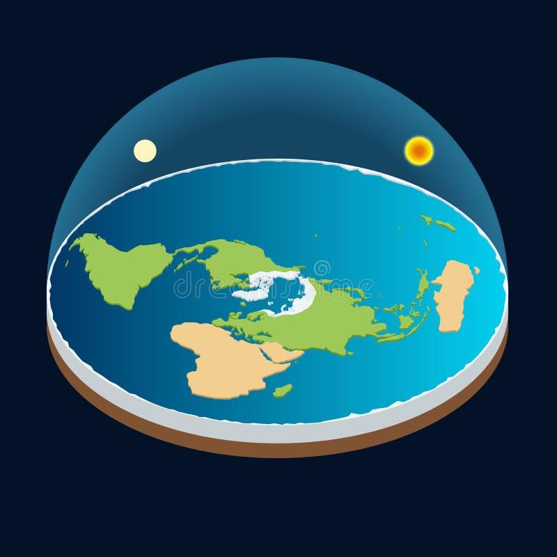 Isometric διανυσματική απεικόνιση πλανήτη Γη, ήλιων και φεγγαριών ελεύθερη απεικόνιση δικαιώματος