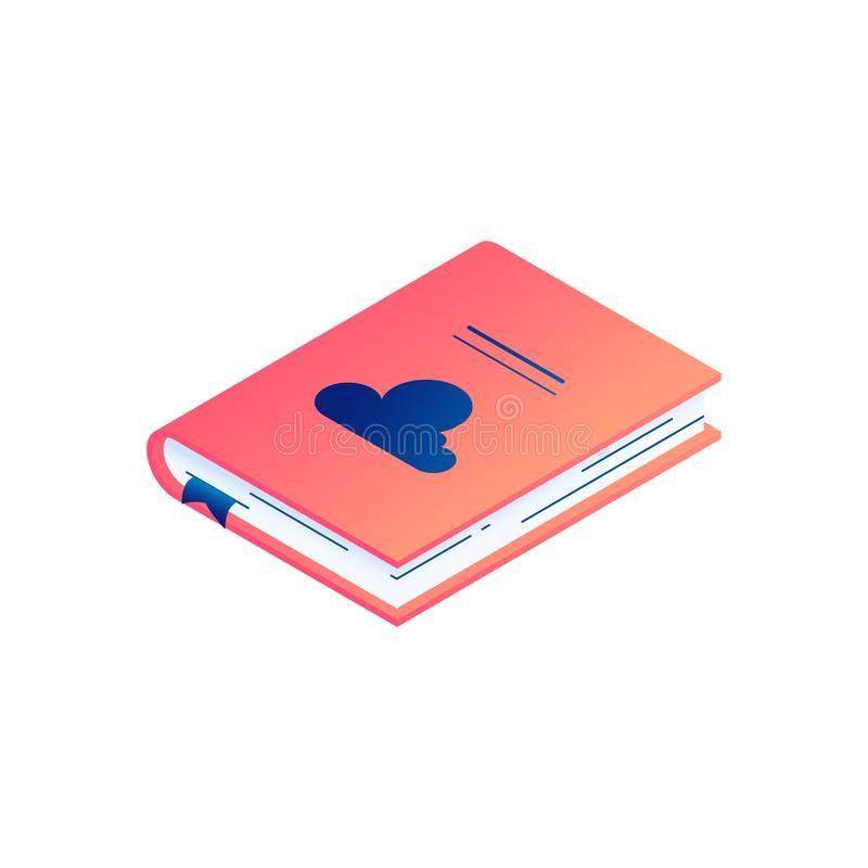 Isometric διανυσματική απεικόνιση που βρίσκεται του βιβλίου ή του ημερολογίου εγγράφου με το hardcover και το σελιδοδείκτη διανυσματική απεικόνιση