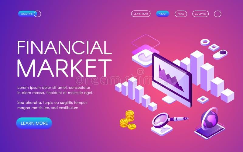 Isometric διανυσματική απεικόνιση χρηματοοικονομικών αγορών ελεύθερη απεικόνιση δικαιώματος