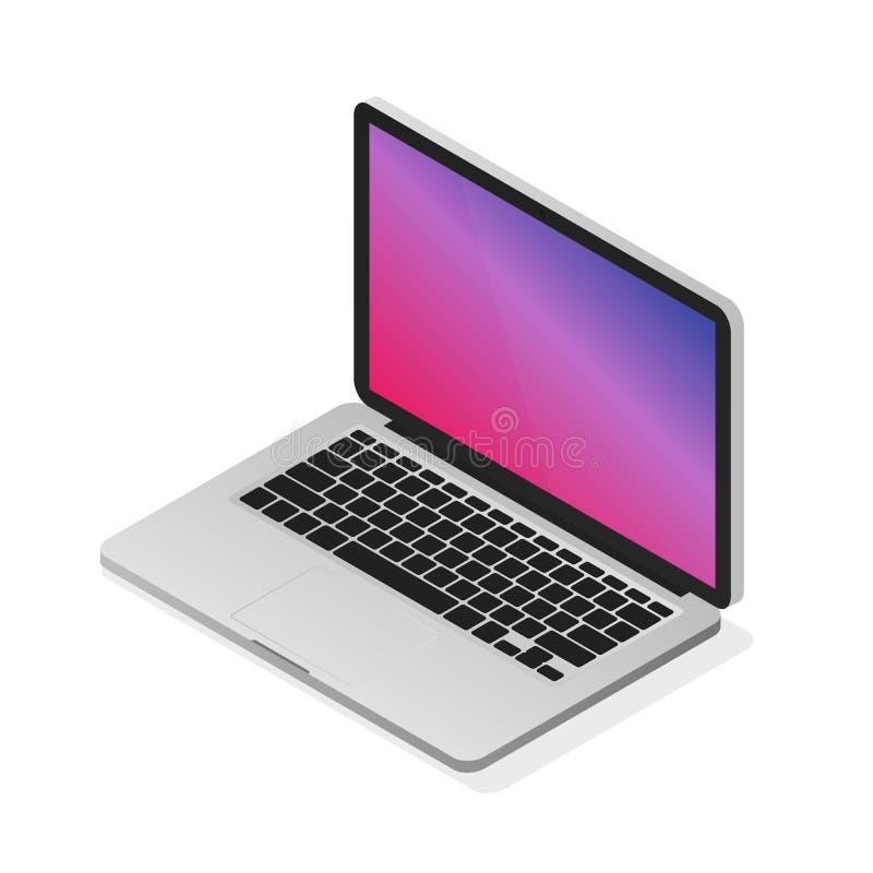 Isometric διανυσματική απεικόνιση lap-top Σύγχρονος ρεαλιστικός υπολογιστής γραφείου διανυσματική απεικόνιση