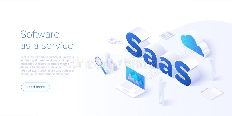 Isometric διανυσματική απεικόνιση Saas Λογισμικό ως υπηρεσία ή κατόπιν παραγγελίας σχέδιο υποβάθρου έννοιας Μεταφορά τμήματος υπο απεικόνιση αποθεμάτων