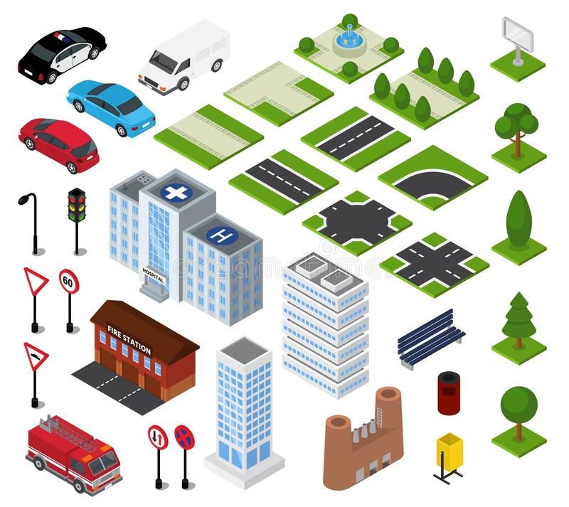 Isometric διανυσματική αστική εικονική παράσταση πόλης πόλεων με την οικοδόμηση της αρχιτεκτονικής ή της κατασκευής στο σύνολο απ ελεύθερη απεικόνιση δικαιώματος