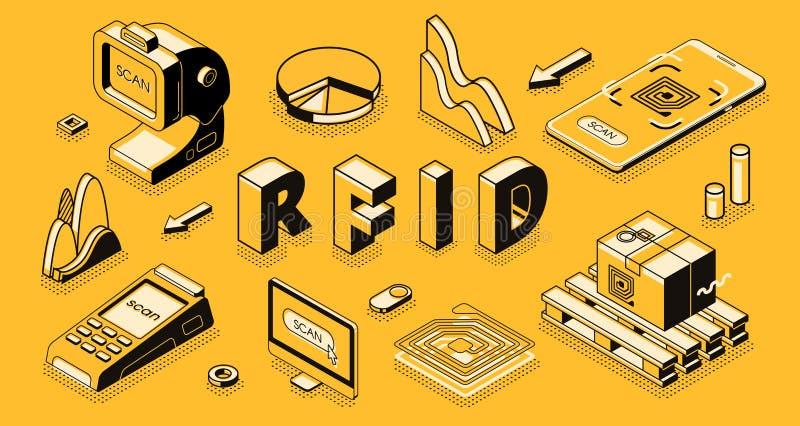 Isometric διανυσματική επιχειρησιακή έννοια τεχνολογίας RFID διανυσματική απεικόνιση