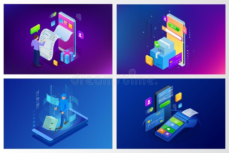 Isometric διανυσματική σε απευθείας σύνδεση έννοια αγορών Προσγειωμένος πρότυπο σελίδων Σύγχρονο υπεριώδες σχέδιο για ιστοσελίδας απεικόνιση αποθεμάτων
