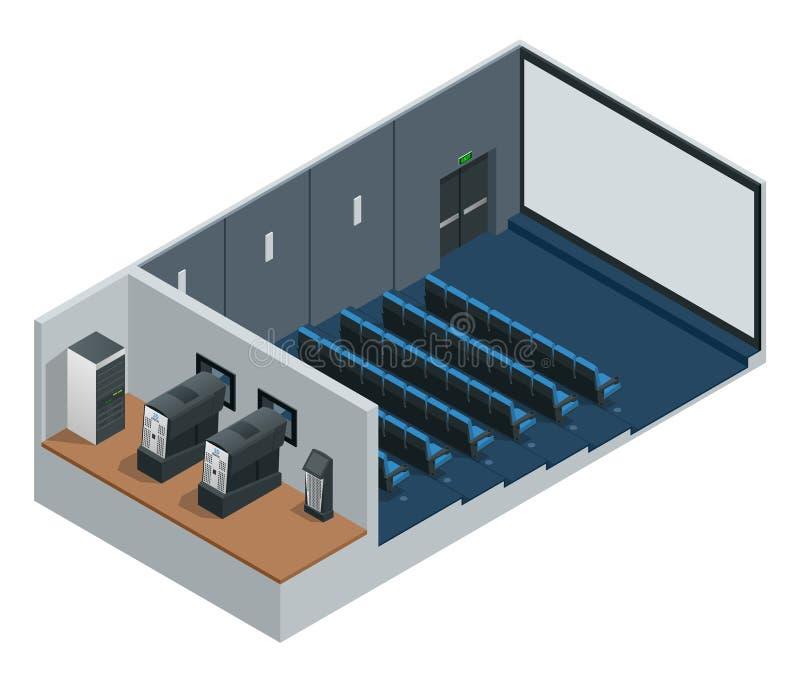 Isometric διανυσματικό θέατρο κινηματογράφων με την κενή οθόνη Περιλαμβάνει την οθόνη, τα καθίσματα και τους προβολείς προβολής κ ελεύθερη απεικόνιση δικαιώματος