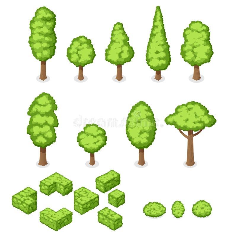 Isometric διανυσματικό σύνολο εγκαταστάσεων, δέντρων και Μπους πάρκων ελεύθερη απεικόνιση δικαιώματος