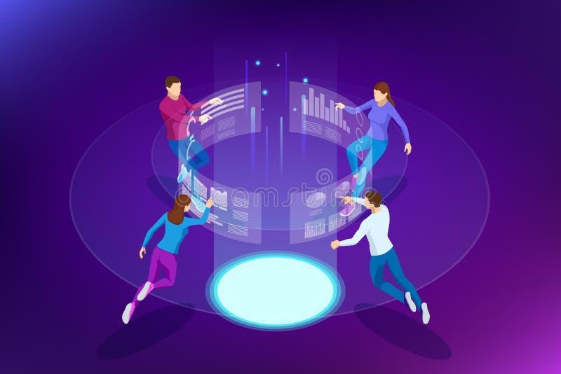 Isometric διαχείριση διαδικασιών analytics επιχειρησιακών στοιχείων ή ταμπλό νοημοσύνης στην εικονική οθόνη που παρουσιάζει πωλήσ διανυσματική απεικόνιση