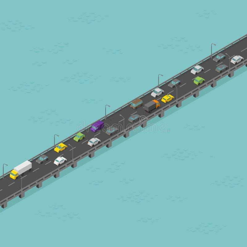 Isometric δρόμος γεφυρών Μέση κυκλοφορία Μακριά ανυψωμένη εθνική οδός Γέφυρα πέρα από τον ποταμό r διανυσματική απεικόνιση