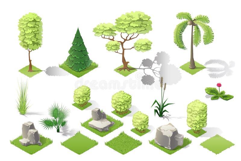 Isometric εγκαταστάσεων διανυσματικό σύνολο συλλογής κήπων δασικό διανυσματική απεικόνιση