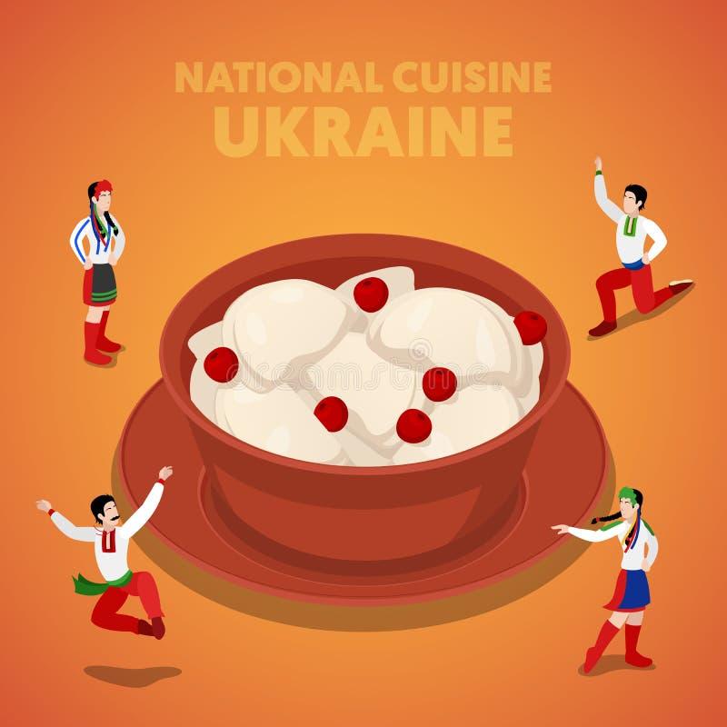Isometric εθνική κουζίνα της Ουκρανίας με Vareniki και τους ουκρανικούς λαούς στα παραδοσιακά ενδύματα ελεύθερη απεικόνιση δικαιώματος