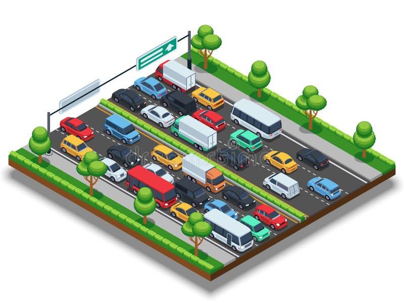 Isometric εθνική οδός με την κυκλοφοριακή συμφόρηση τρισδιάστατη διανυσματική έννοια μεταφορών με τα αυτοκίνητα και τα φορτηγά διανυσματική απεικόνιση