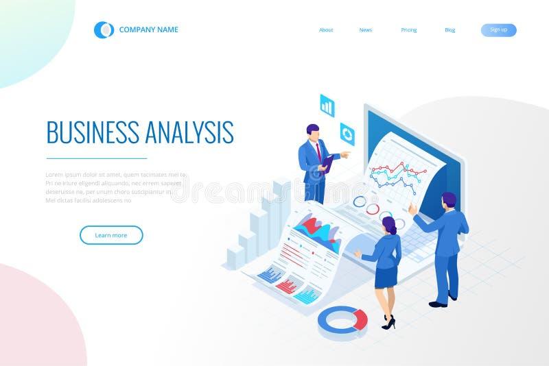 Isometric ειδική ομάδα για την ανάλυση στοιχείων, στατιστική επιχειρήσεων, διαχείριση, διαβούλευση, μάρκετινγκ Προσγειωμένος πρότ απεικόνιση αποθεμάτων