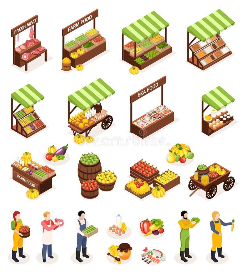 Isometric εικονίδια αγοράς της Farmer καθορισμένα ελεύθερη απεικόνιση δικαιώματος