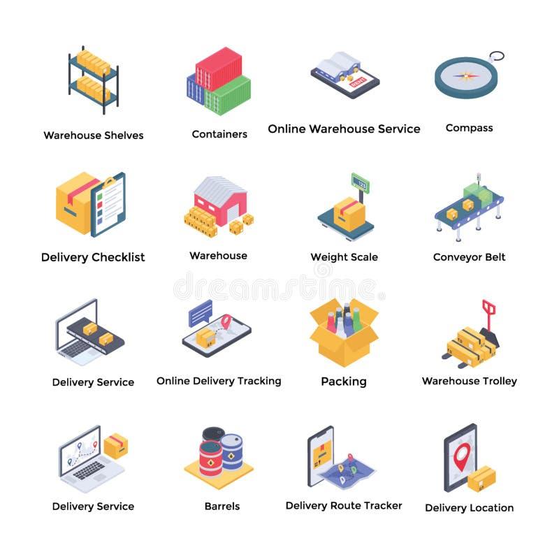 Isometric εικονίδια αποθηκών εμπορευμάτων διανυσματική απεικόνιση