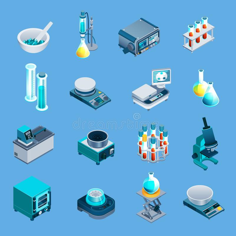 Isometric εικονίδια εργαστηριακού εξοπλισμού διανυσματική απεικόνιση