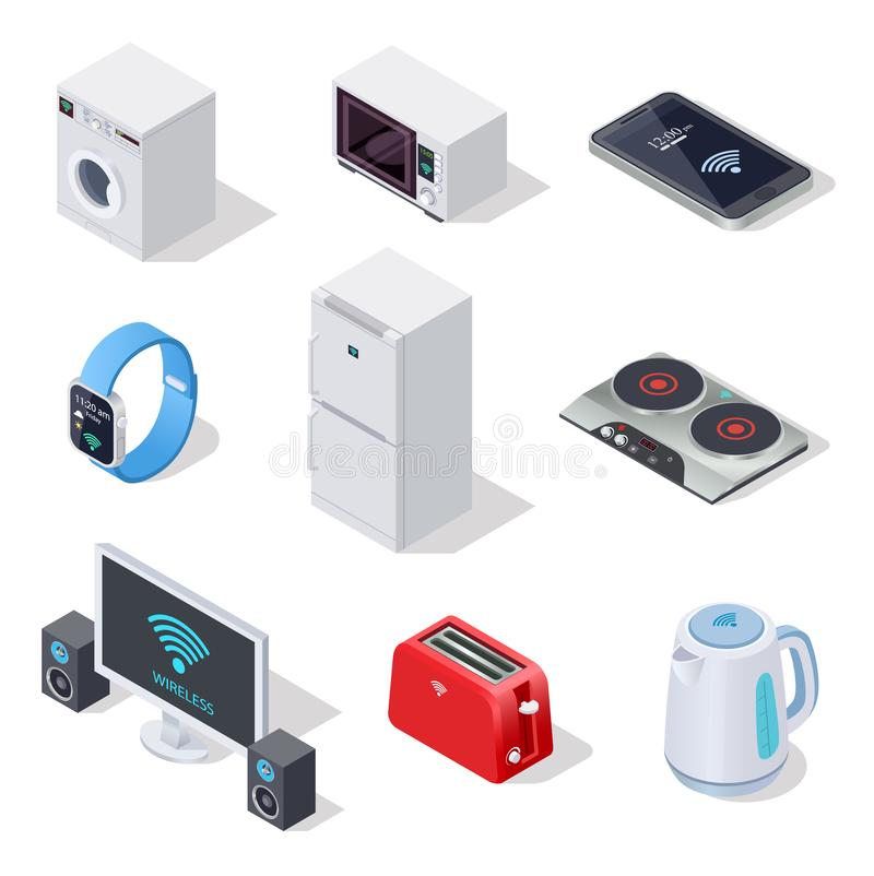 Isometric εικονίδια πραγμάτων Διαδικτύου οικιακές συσκευές Ασύρματο διανυσματικό τρισδιάστατο απομονωμένο σύνολο ηλεκτρονικών συσ διανυσματική απεικόνιση