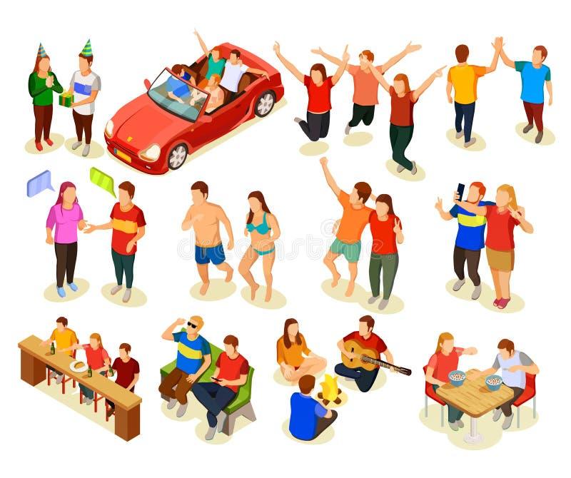Isometric εικονίδια φίλων καθορισμένα απεικόνιση αποθεμάτων