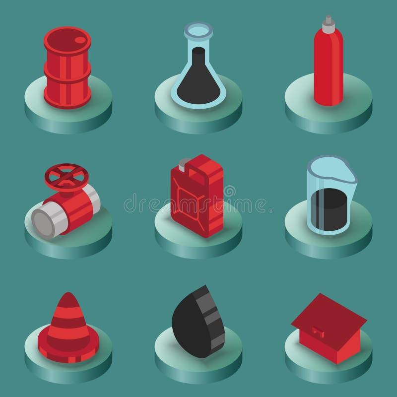 Isometric εικονίδια χρώματος αερίου απεικόνιση αποθεμάτων