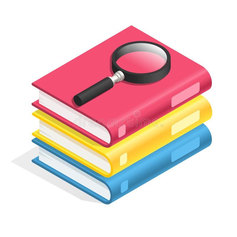 Isometric εικονίδιο βιβλίων Σωρός των βιβλίων, σωρός εγχειριδίων Ακαδημαϊκή ανάγνωση, φρόνηση και τρισδιάστατο διανυσματικό σύμβο απεικόνιση αποθεμάτων
